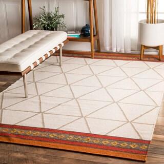 nuLOOM Handmade Flatweave Trellis Geometric Ivory Rug (5' x 8')