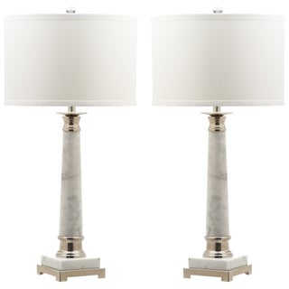 Safavieh Lighting Colleen White Marble 30 Inch Table Lamps With Cotton  Shades (Set Of