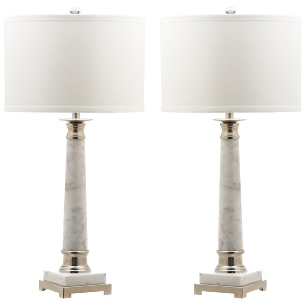Safavieh Lighting Colleen White Marble 30-inch Table Lamps with Cotton Shades (Set of 2)