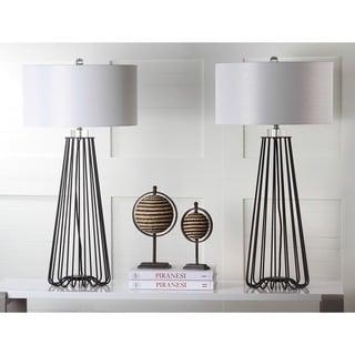 "Safavieh Lighting 34-inch Estill Black Iron Modern Industrial Table Lamp (Set of 2) - 17""x17""x34"""
