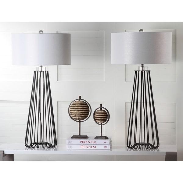 3559f7ea536c Safavieh Lighting 34-inch Estill Black Iron Modern Industrial Table Lamp ( Set of 2