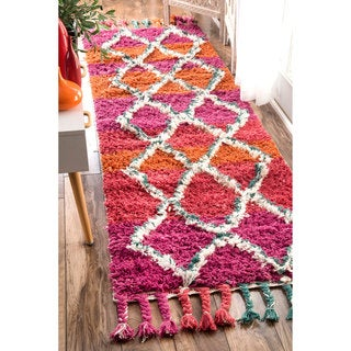 nuLOOM Hand-knotted Moroccan Trellis Multi Shag Wool Runner Rug (2'6 x 8')