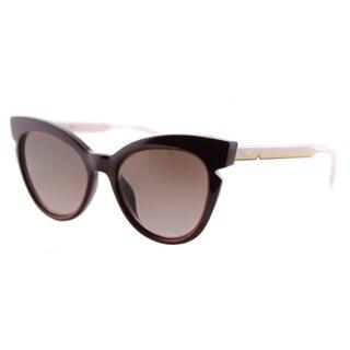 Fendi FF 0132 N7F Burgundy And Crystal Pink Plastic Brown Gradient Lens Sunglasses