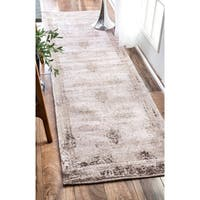 Maison Rouge Anvari Handmade Distressed Abstract Vintage Wool Ivory Runner Rug (2'6 x 8')