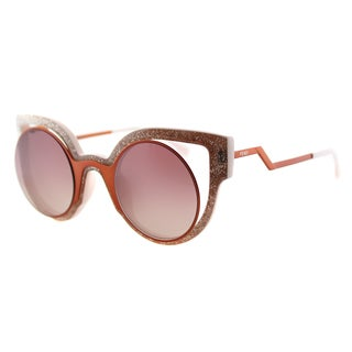 Fendi FF 0137 NUG Paradeyes Orange Glitter Pink Plastic Cat-Eye Red Mirror Lens Sunglasses