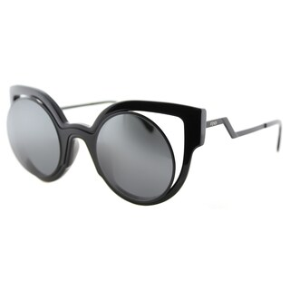 Fendi FF 0137 NT2 Paradeyes Shiny Black Matte Plastic Cat-Eye Grey Mirror Lens Sunglasses