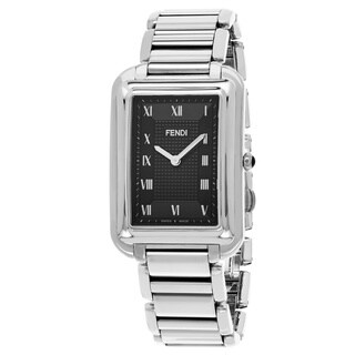 Fendi Men's F701011000 'Classico Rectangle' Black Dial Stainless Steel Swiss Quartz Watch
