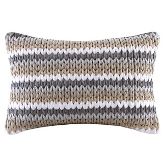 Now Madison Park Stripe Woven Handloom Tan Oblong Throw Pillow