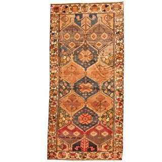 Herat Oriental Persian Hand-knotted 1960s Semi-antique Tribal Bakhtiari Blue/ Ivory Wool Runner (3'10 x 8'4)