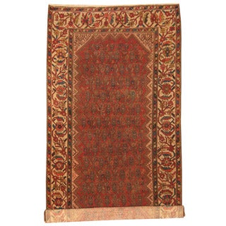 Herat Oriental Persian Hand-knotted 1960s Semi-antique Malayer Red/ Ivory Wool Runner (6' x 11'10)