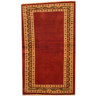Herat Oriental Afghan Hand-knotted Gabbeh Red/ Ivory Wool Area Rug (3' x 5'2)