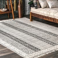 nuLOOM Handmade Flatweave Stiped Diamond Border Cotton Fringe Grey Rug - 8'6 x 11'6