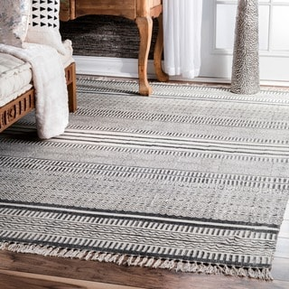 nuLOOM Handmade Flatweave Textured Stripes Cotton Fringe Grey Rug (8'6 x 11'6)