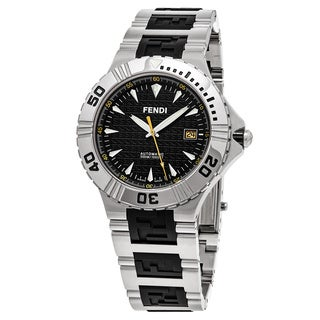 Fendi Men's F495110 'Nautical' Black Dial Stainless Steel/Rubber Swiss Quartz Watch