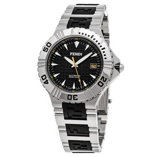 Fendi Men's F495110 'Nautical' Black Dial Stainless Steel/Rubber Swiss Quartz Watch|https://ak1.ostkcdn.com/images/products/11829209/P18733899.jpg?impolicy=medium