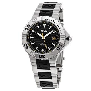 Fendi Men's F495110 'Nautical' Black Dial Stainless Steel/Rubber Swiss Quartz Watch
