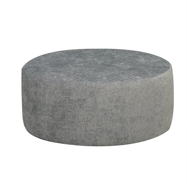 Shop Round Grey Tufted Ottoman Free Shipping Today