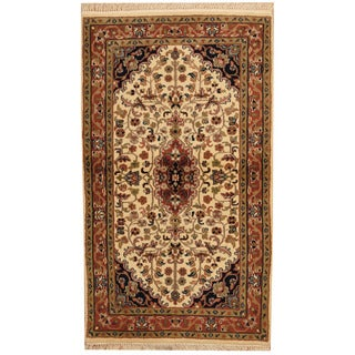 Herat Oriental Indo Hand-knotted Kashan Ivory/ Rust Wool Area Rug (3' x 5'3)
