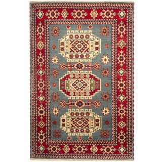 Herat Oriental Indo Hand-knotted Kazak Blue/ Red Wool Area Rug (4' x 6')
