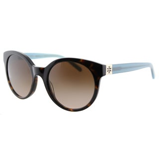 Tory Burch TY 7079 135913 Vintage Round Tortoise Milky Fountain Plastic Round Brown Gradient Lens Sunglasses