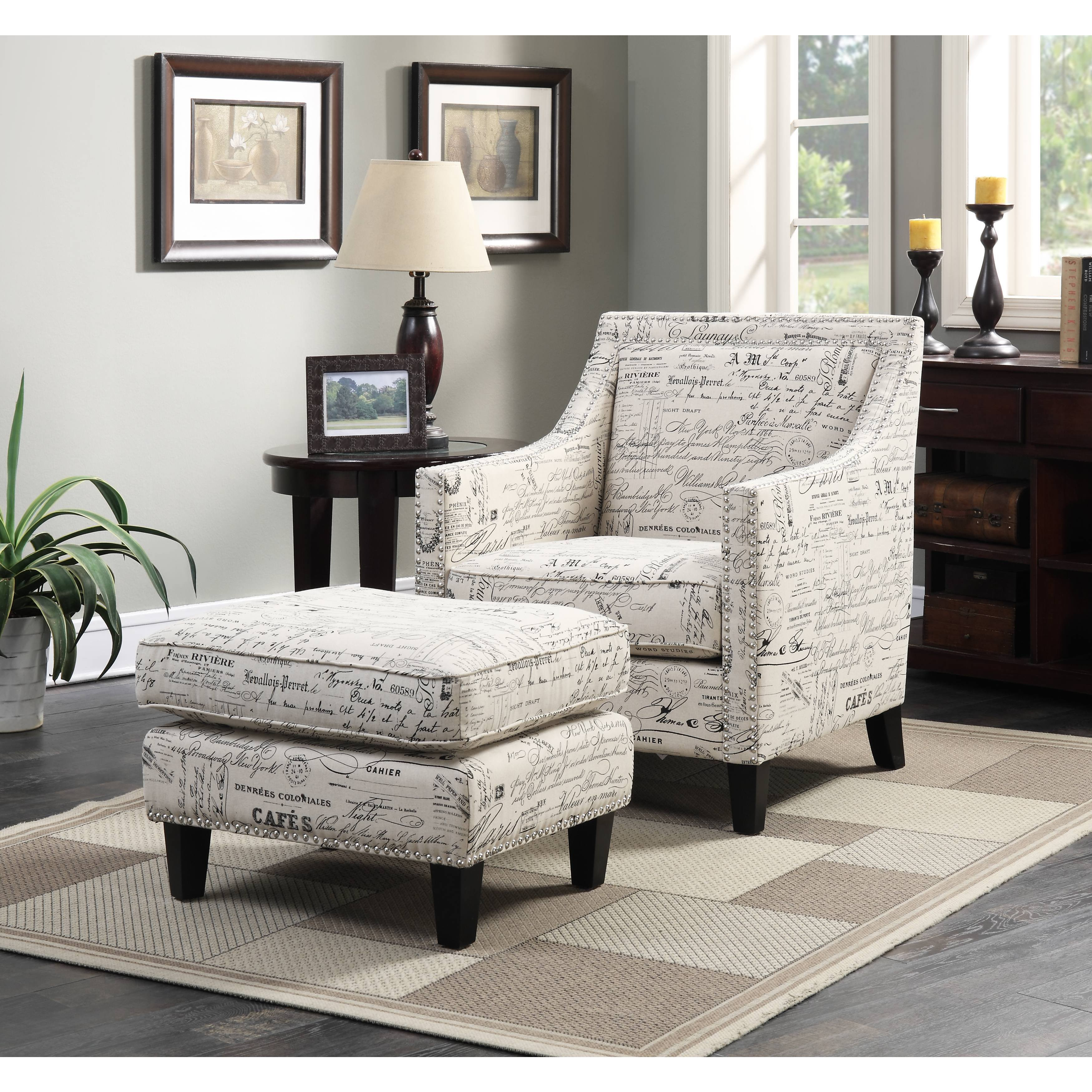Clay alder home rockville armchair ottoman in french script