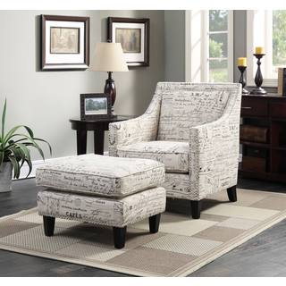 Picket House Emery Armchair & Ottoman in French Script