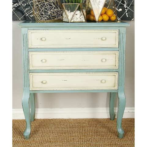 Traditional 33 X 29 Inch Wooden 3-Drawer Chest by Studio 350 - Green