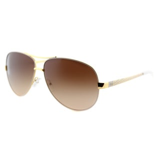 Tory Burch TY 6035 302011 T-Print Aviator Ivory Gold Metal Aviator Brown Gradient Lens Sunglasses