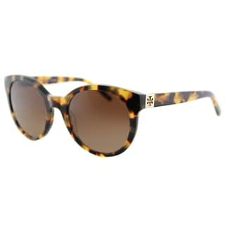 Tory Burch TY 7079 1474T5 Vintage Round Spotty Tortoise Plastic Round Brown Gradient Polarized Lens Sunglasses