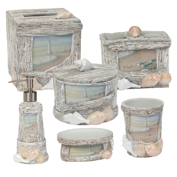 'Sunset Beach' 6-piece Handcrafted Resin Bath Accessory Set or Separates