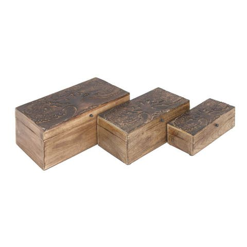 Durable Set of Three Wooden Boxes