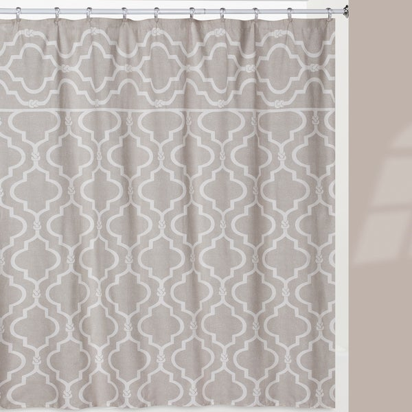 Beige Cotton Trellis Shower Curtain