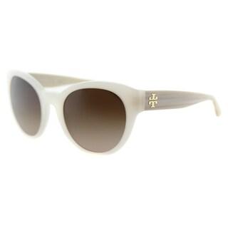 Tory Burch TY 7080 141013 Mirror-'T' Round Ivory Beechwood Plastic Round Dark Brown Gradient Lens Sunglasses