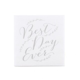 Rustic Vines White/Grey 'Best Day Ever' Beverage Napkins