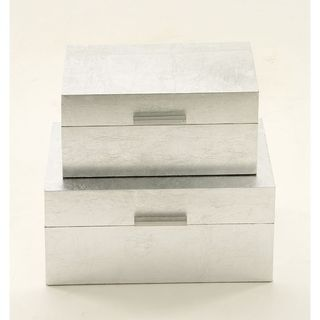 Fabulous Wood Silver Box (Set Of 2)