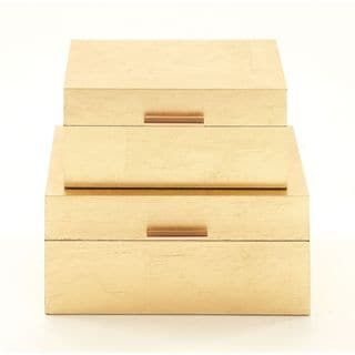 Lovely Wood Gold Box (Set Of 2)