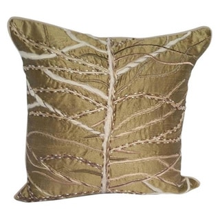 Decorative Jute and Pearl Embroidered Polyester Throw Pillow Cover