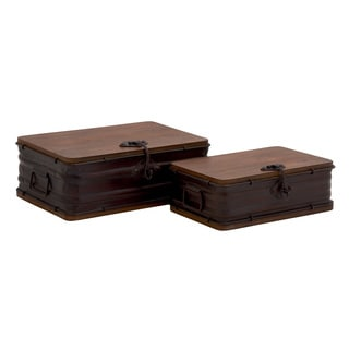 Classy Styled Amazing Metal Wood Box (Set Of 2)
