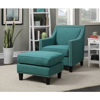 Picket House Contemporary Emery Teal Armchair & Ottoman set