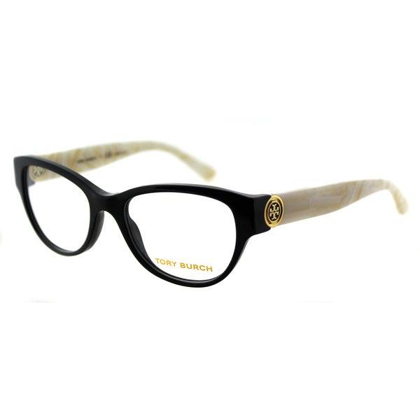 969fda27e79 Tory Burch TY 2060 3148 Black Ivory Marble Plastic Cat-Eye 50mm Eyeglasses
