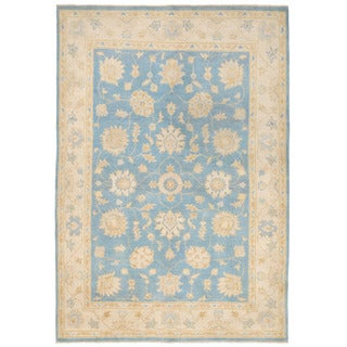 Herat Oriental Afghan Hand-knotted Super Kazak Blue/ Ivory Wool Rug (4'10 x 7')