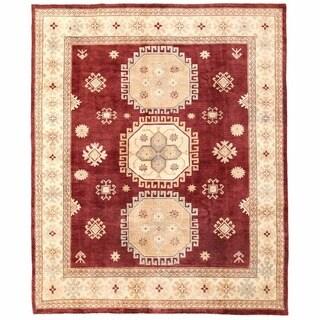 Herat Oriental Afghan Hand-knotted Super Kazak Burgundy/ Ivory Wool Rug (8' x 9'10)