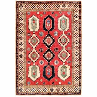 Herat Oriental Afghan Hand-knotted Kazak Red/ Ivory Wool Rug (5'11 x 8'5)