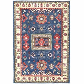 Herat Oriental Afghan Hand-knotted Kazak Blue/ Ivory Wool Rug (4'10 x 7'2)