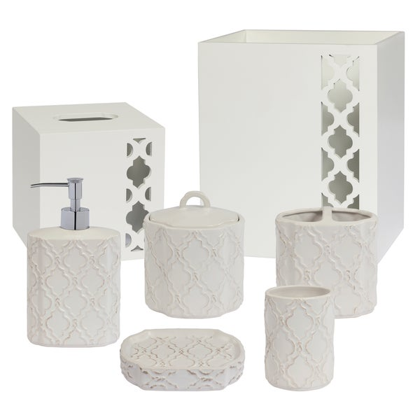 Antiqued Beige Trellis Patterned Ceramic Bath Accessory Collection - 7 Optional Pieces