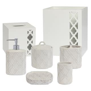 rhinestone bathroom accessories. Antiqued Beige Trellis Patterned Ceramic Bath Accessory Collection  7 Optional Pieces Bathroom Accessories For Less Overstock com