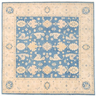 Herat Oriental Afghan Hand-knotted Super Kazak Light Blue/ Ivory Wool Rug (8'9 x 8'9)