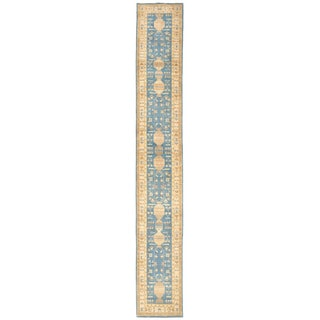 Herat Oriental Afghan Hand-knotted Super Kazak Blue/ Ivory Wool Runner (3' x 20'1)