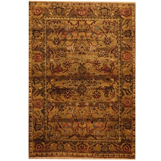 Herat Oriental Indo Hand-knotted Oushak Brown/ Red Wool Area Rug (4'1 x 5'10)