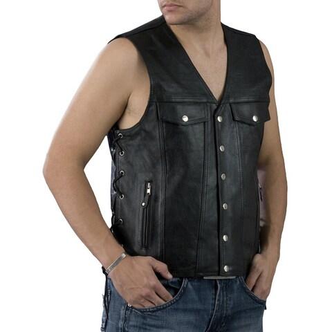 Men's Black Leather Vest With Denim-Style Pockets